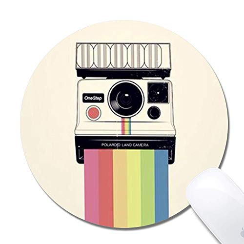 Computer Rainbow Polaroid Round Mouse Pad (7.8x7.8 Inch), Printed Rubber Desk Accessories Mouse Mat