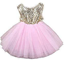 Pink02 Tulle Tutu Baby Dress With Sequins