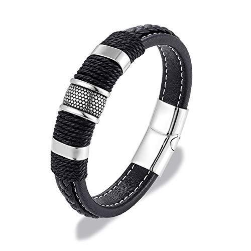 RJGOPL Mode zwart/bruin gevlochten band lederen mantel roestvrij staal armband met hanger heren dames punk sieraden heren 23 cm zilver zwart