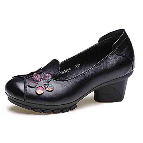 Socofy Mocasines Mujer Zapatos de Cuero Ballet Mocasines Zapatos Casuales Mujer Primavera Verano Casual Plano Cómodo Cabeza Redonda de Cuero Zapatillas de Mocasín Zapatos de Barco