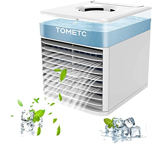 Personal Air Conditioner Fan, TOMETC Small Air Conditioner Fan, Portable Air Cooler Mini Air Fan, With 7 Colors LED night Light 3 Speeds Conditioner Fan, For Room Home Office Use