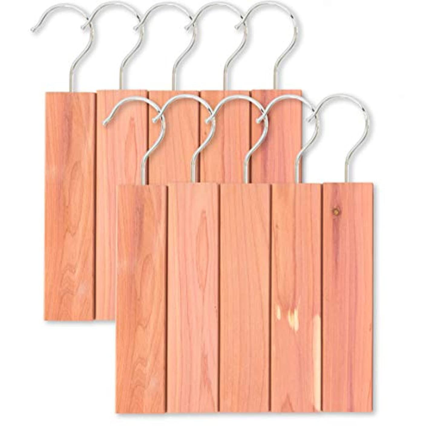 JJEcommUS Large Cedar Hang Ups Set - 10 Cedar Hangers | Cedar Blocks for Clothes Storage | 100% Natural Fragrance Deodorizer