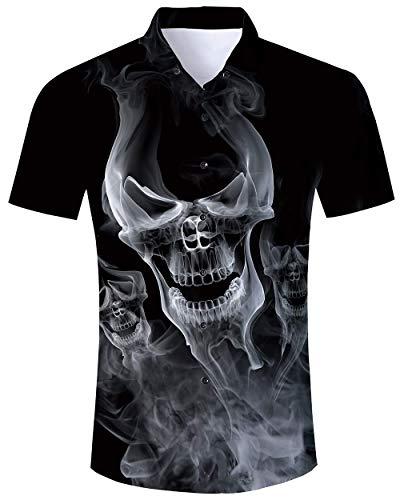 RAISEVERN Camisa Hawaiana Negra Camisas de Manga Corta 3D Cool Skull Prints Ugly Aloha Button Blusa Verano Vacaciones Fiesta Ropa de Playa Ropa de Navidad L.