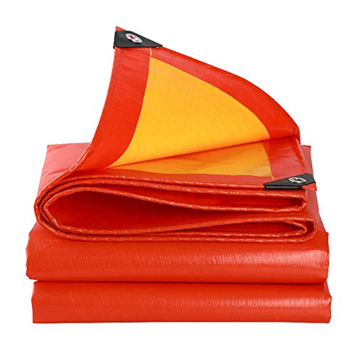 Tarpaulin-CZY Afdekzeil, schermbescherming, linoleum bladeren, waterdicht, zonwering, winddicht, picknick, dubbelzijdig, oranje en geel, Oxford doek, bescherming van de privacy, groot, multi-grootte 2.8mx2.8m oranje