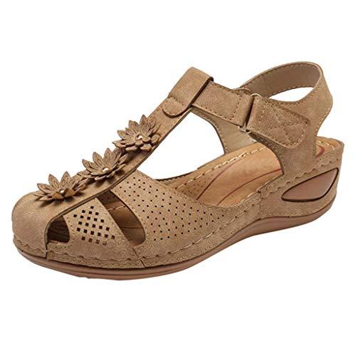 MITCOWBOYS Comfortable Soft Sole Shoes Women's Ankle Hollow Round Toe Sandals Summer Wedge Platform Shoes Beige