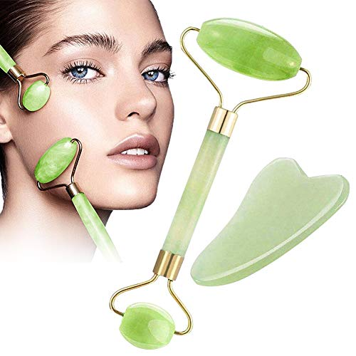Jade Roller, Gua Sha Tools, Jade Roller for Face, Gua Sha Scrapping Tool -Deluxe Facial Massager for Brighter Skin, Natural Anti Aging Therapy, Eye Roller - Quarts Roller - Skin Rollers, Best SPA Tool