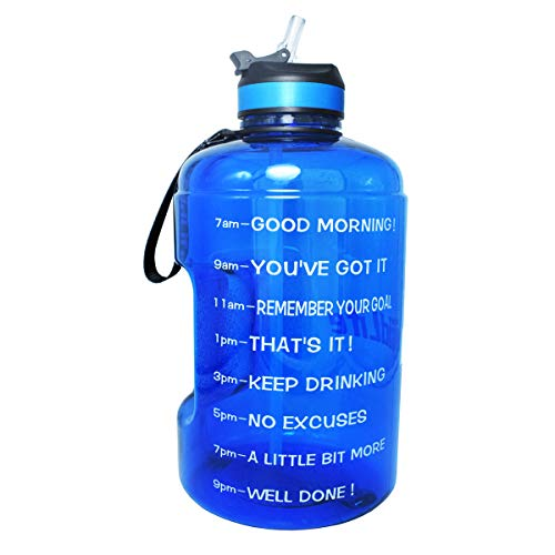 BuildLife Gallon Motivational Water Bottle with Time Marked to Drink More Daily and Nozzle,BPA Free Reusable Gym Sports Outdoor Large(128OZ) Capacity (Blue, 1 Gallon)