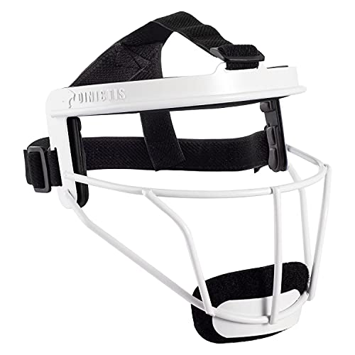 Dinictis Softball Face Mask, with Wide Field Vision, Lightweight and Comfortable, Suit for All Ages - Durable and Safety Fielder Head Guard- White-Adult(L)
