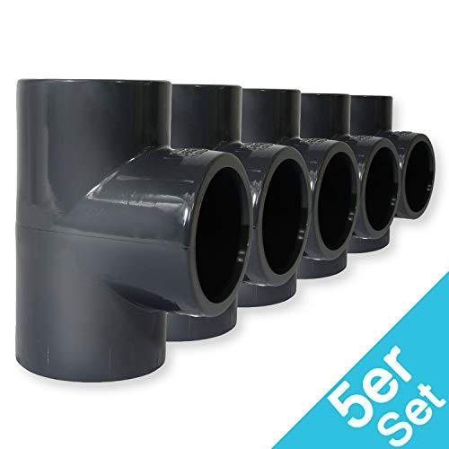 Paradies Pool PVC Fitting T-Stück Ø 50mm 90° mit Klebemuffen, Qualität aus Europa, Menge: 5 Stück