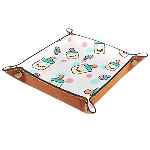 AMEILI Kawaii - Bandeja de piel decorativa para joyas, diseño de emoticonos de noche, diseño de hebilla, caja de almacenamiento para llaves, teléfono, moneda, cartera, relojes, etc., café