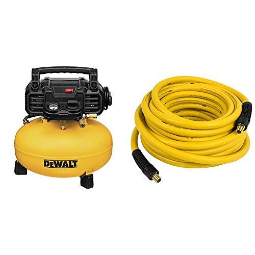 """DEWALT Pancake Air Compressor, 6 Gallon, 165 PSI (DWFP55126) & DXCM012-0201 3/8"""" x 50' Premium Rubber Hose"""