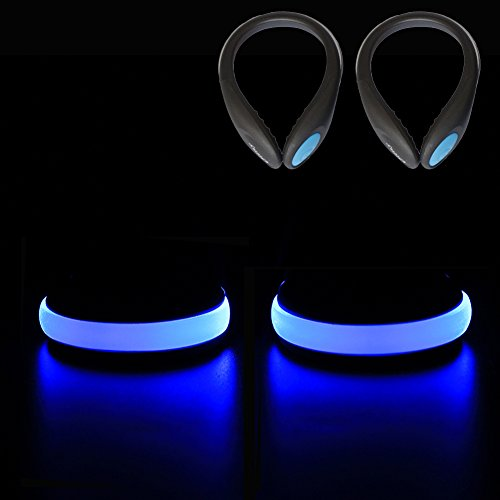 Ollny LED Safety Blue Lights for Runners, Reflective Shoes Clip Lights Gear with 2 Modes for Night Running Climbing Hiking Biking 1Pair with a Screwdriver
