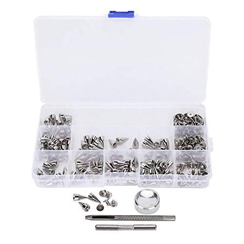 Espigas de cono, puntas de cono punk de 7x14 mm, 110 pares no fáciles de oxidar, manualidades de cuero para pulseras de cuero, collares para perros, bolsos, ropa