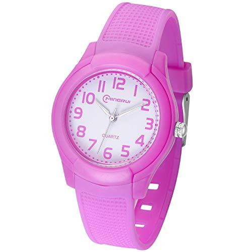 Relojes Analógicos para Niños, Niñas Impermeable Fácil de Leer Relojes de Pulsera con Correa Suave para Niñas (Lila)