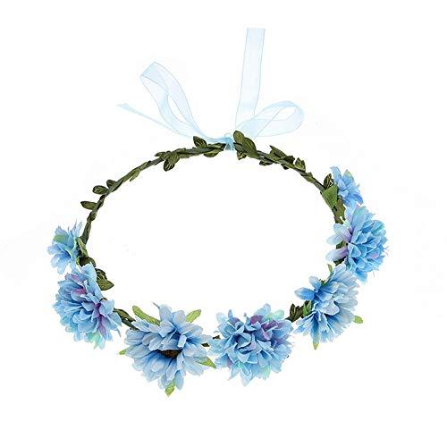 Yazilind Gänseblümchen Sonnenblume Blumenkranz Seaside Vacation Beach Party Haar Kranz Stirnband Haarschmuck Blau