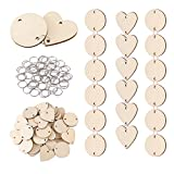 Favide 100 Pieces Wooden Circles Wooden Heart Tags with Holes and 100 Pieces 12 mm Rings for Birthday Boards, Valentine, Chore Boards, Arts and Crafts (Style 3)