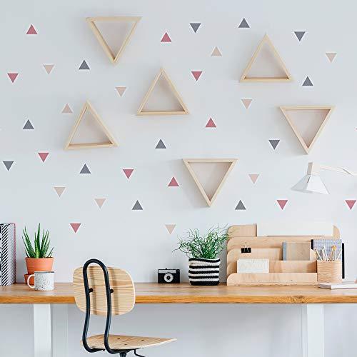Pegatinas y Vinilos para Decoración de Pared | Triángulos | Adhesivos Decorativos Infantil | Formas Geométricas | 56uds | Rosa, Azul, Mostaza (Rosa)