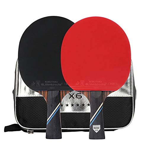 X-xyA Bats de Tenis de Mesa de 6 Estrellas Profesional 2 x Shakehand con la Bolsa de Transporte de Ping Pong