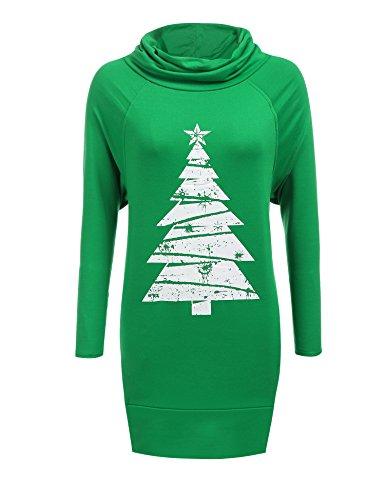 Zeagoo Women Cowl Collar Raglan Sleeve Solid Loose Christmas Pullover Hoodie Dress