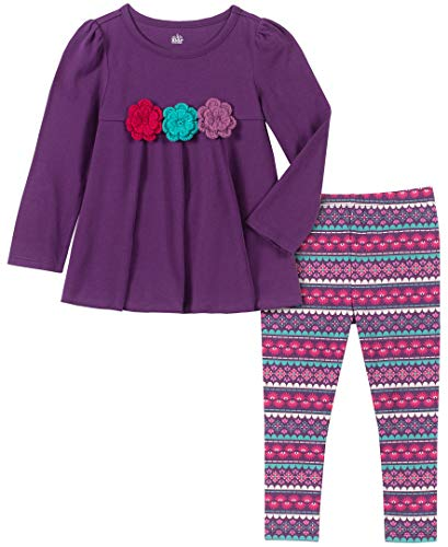Kids Headquarters Baby Girls 2 Pieces Leggings Set, Purple, 18M