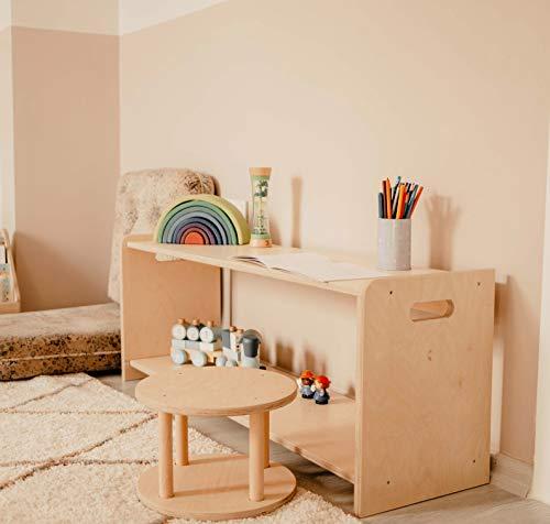 MAMI | Estanterías Montessori de madera para niños con taburete | Dormitorio | Porta objetos | Librería Montessori