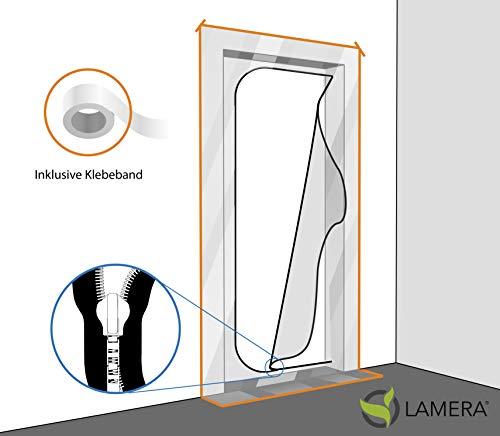 Lamera® Profi Staubschutztüre wiederverwendbar 220 x 120 cm inkl. Klebeband, für Innen- und Aussenbereich, mit Reißverschluss, lichtdurchlässig transparent, für Umbau und Renovierung