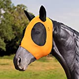 Harrison Howard Super Comfort Horse Fly Mask Elasticity Fly Mask with Ears UV Protection for Horse-Lemon Yellow