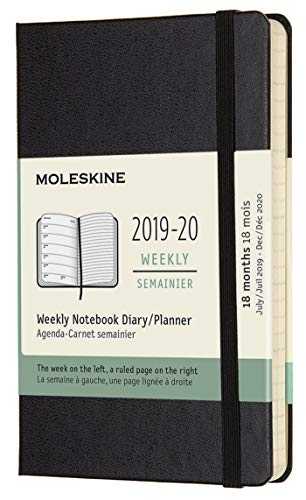 Moleskine 2019-20 Weekly - Agenda Cuaderno Semanal de 18 Meses 2019/2020, Negro, Tamaño Pequeño 9 x 14 cm, 208 Páginas