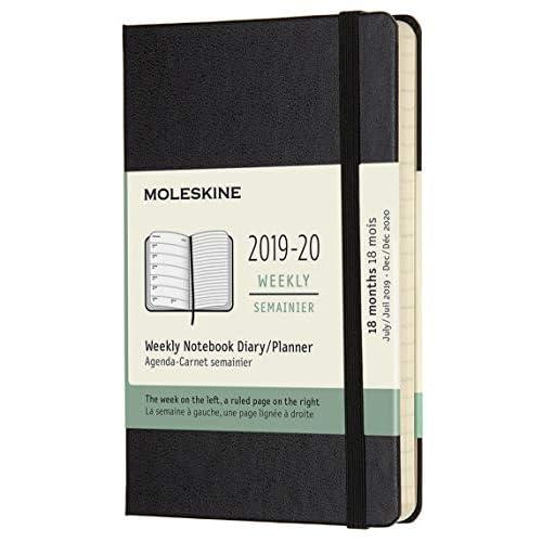Moleskine Agenda 18 Mesi Settimanale, Diario Accademico 2019/2020 con Copertina Rigida e Chiusura ad Elastico, Nero, Dimensione Pocket 9 x 14 cm, 208 Pagine