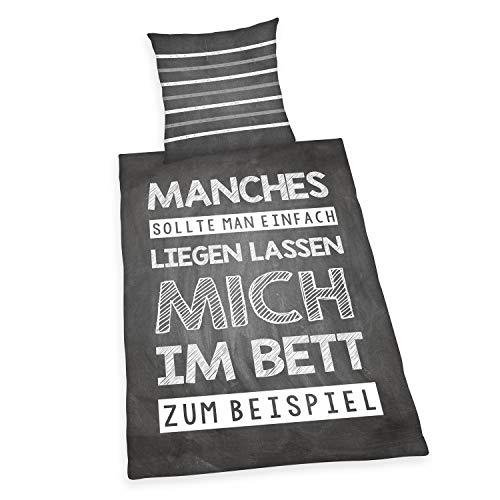 Herding Bettwäsche-Set, Motiv: Sprüche, Wendebettwäsche, Kopfkissenbezug 80x80 cm, Bettbezug 135x200 cm, Baumwolle Renforcé, grau, weiß