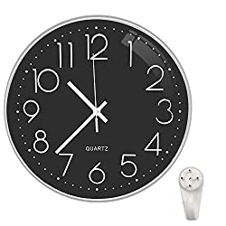 Ocharzy Wall Clock 12 Inch Non-Ticking Silent Quartz Decorative Battery Operated Round Clocks Living Room Home Kitchen Office School Decor Clocks (Black- Silver)