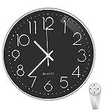 Lesirit - Reloj de pared moderno de 30,5 cm, silencioso, decorativo, funciona con pilas, reloj de cuarzo para sala de estar, oficina o escuela (30,48 cm), color negro y plateado