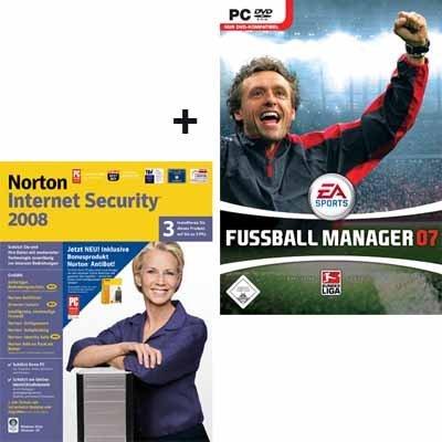 NORTON INTERNET SECURITY 2008/NORTON ANTIBOT 1.0 DE CD 3USER + Fussball Manager 07