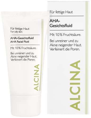 ALCINA AHA-Gesichtsfluid mit 10% Fruchtsäure - 1 x 50 ml - Für fettige Haut - Ideal bei unreiner und zu Akne neigender Haut - Verfeinert die Poren und regt die Hauterneuerung an