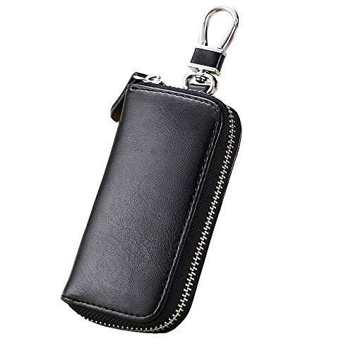 Key Wallet, Key Holder Wallet, Briskyto Key Chain Wallet, Fashionable Leather Car Key Card Wallet Holder, Multi-Functional Zipper Key Case Wallet with 6 Hooks Men and Women Pocket Key Chain Purse