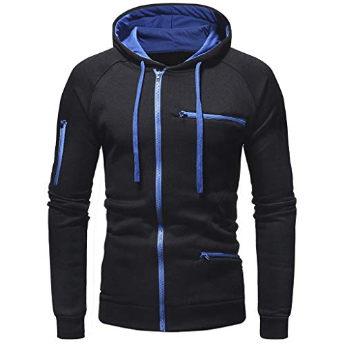 DNOQN Herren Paar Warme Feste Reißverschluss Stehkragen Langarm Sport Outdoor Coat Outwear Schwarz XL