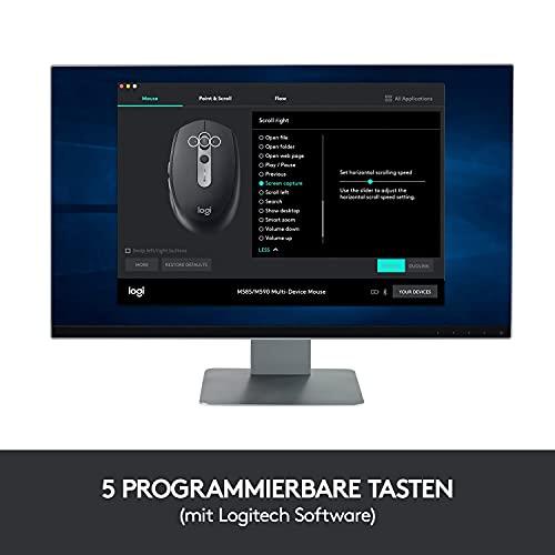 Logitech M590 Silent Kabellose Maus, Bluetooth und 2.4 GHz Verbindung via Unifying USB-Empfänger, 1000 DPI Optischer Sensor, 2-Jahre Akkulaufzeit, PC/Mac – Graphite/Schwarz - 8