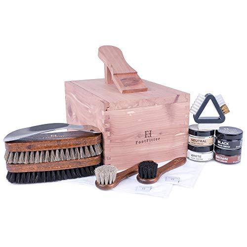 FootFitter Shoe Shine Care Valet Box Set - Professional Quality Shoe Care Kit