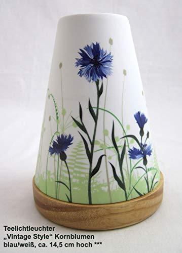Hellmann Versand GmbH Teelichtleuchter Vintage Style Kornblumen blau/weiß ca. 14,5 cm hoch