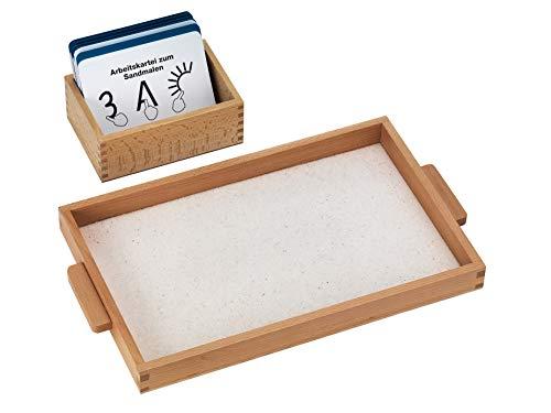 Montessori Sandmalen-Set inkl. Holztablett, Sand und großer Lernkartei mit 100 Karten, Lerntablett ab dem Kindergarten