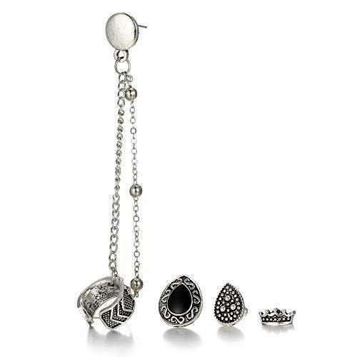 ZQword 8 STÜCKE Set Frauen Ohrring Sets Vintage Clip Ohrringe Kette Ohr Manschette Krone Droplet Boho Böhmischen Schmuck Geschenk