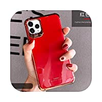 Seggw IPhone 12 Mini 12 Pro Max 11 Pro X XR XS Max 7 8Plus用の豪華な電気メッキ電話ケースHuaweiP30Mate30用の電話カバー-red-For Huawei mate30