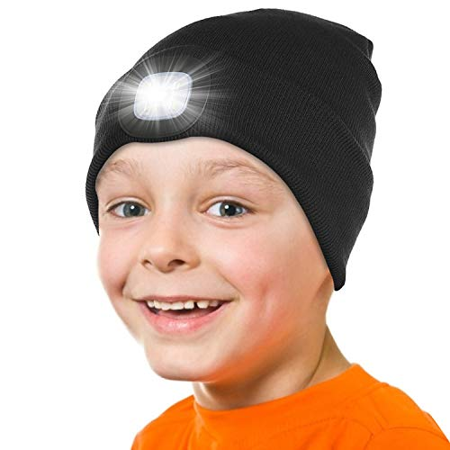 Attikee LED Lighted Beanie Hat for Kids, USB Rechargeable Hands Free 4 LED...