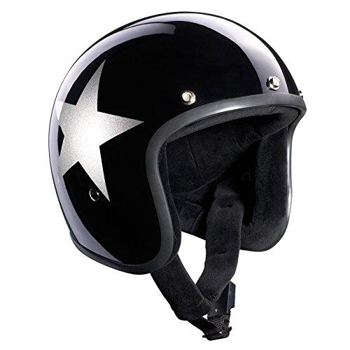 Bandit Helmets Jethelm Star Black Jet, Motorradhelm mit Sonnenschild, Sports-Farbe:glossy black;Größe:L (59-60)