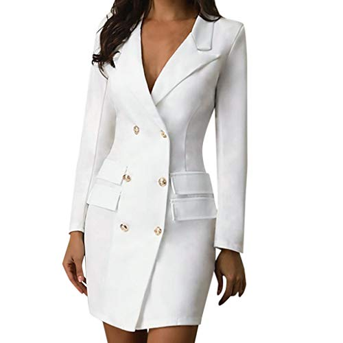 VOWUA Blazer Dress For Women Sexy V Neck Bodycon Dress Double Breasted Button Business Office Lady Suit