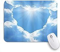 VAMIX マウスパッド 個性的 おしゃれ 柔軟 かわいい ゴム製裏面 ゲーミングマウスパッド PC ノートパソコン オフィス用 デスクマット 滑り止め 耐久性が良い おもしろいパターン (クラウドハートロマンチックな魔法の風景と日光のクリエイティブなアートワーク)