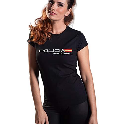 Camiseta Policía Nacional Mujer Manga Corta Negra Aircops Talla L