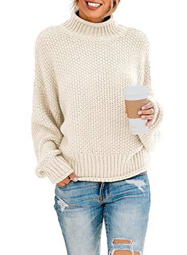 Dokotoo Womens Turtleneck Sweaters Batwing Long Sleeve High Neck Solid Fashion Casual Loose Plain Chunky Knit Pullovers Sweaters Jumper Outerwear Beige Medium