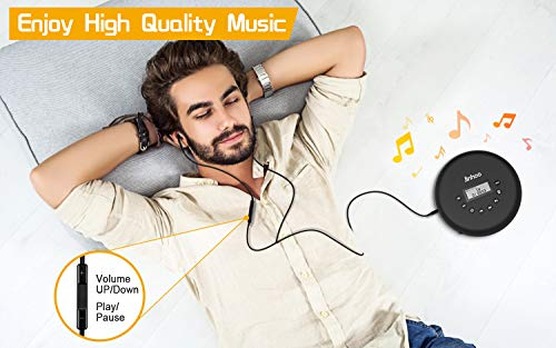 Portable CD Player with Wired Control Stereo Earbuds and 3.5mm Audio Cable, Jinhoo Rechargeable CD Player for car, FM Radio, Anti-Skip/Shockproof Protection Small Music MP3 Players 3