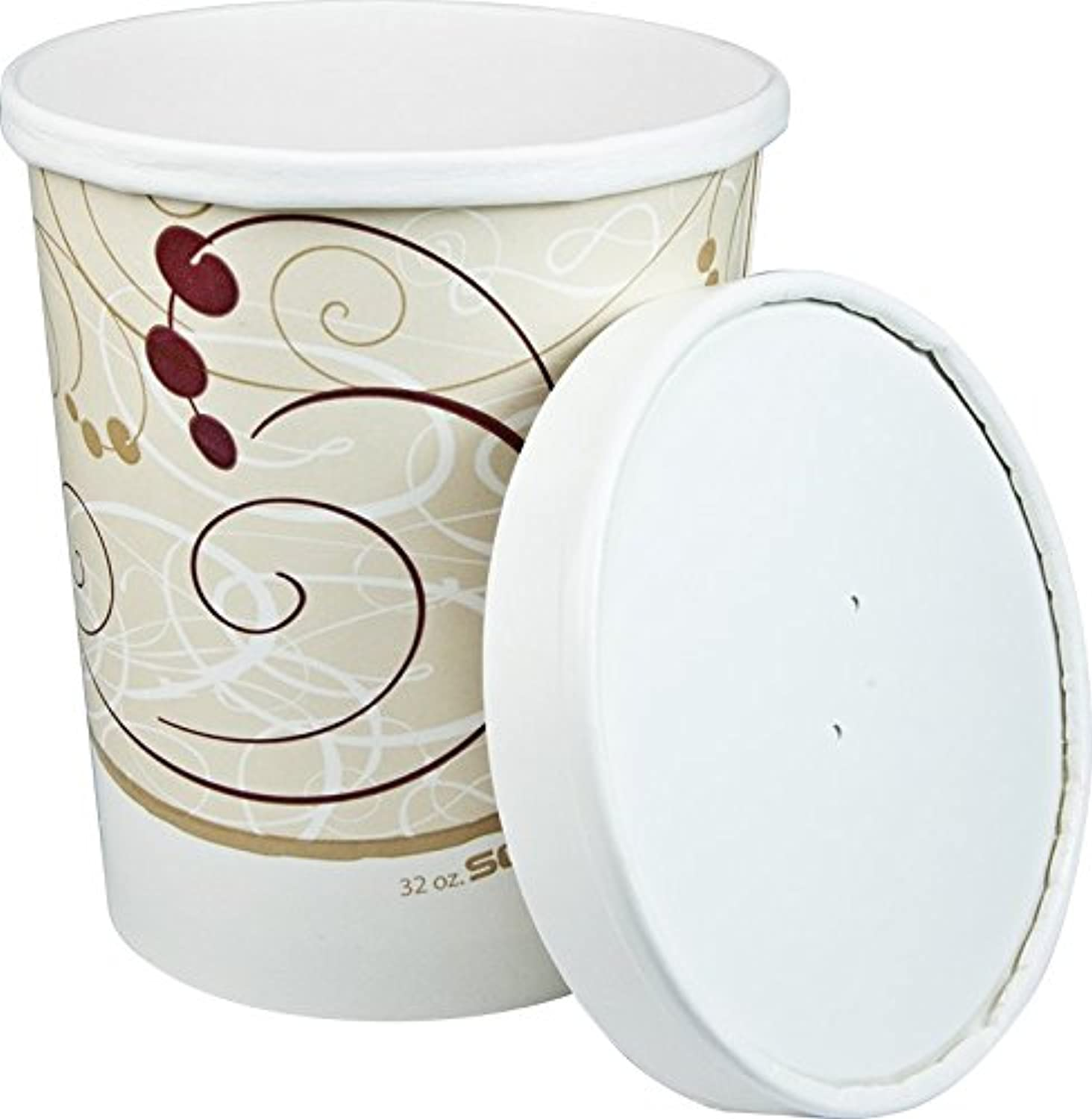 Solo KHB32A-J8000 32 oz Symphony Paper Food Container And Lid (Case of 250 Containers w Lids)